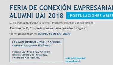Ya puedes postular a la Feria de Conexión Empresarial Alumni UAI 2018